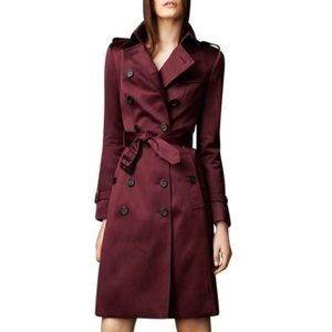 Burberry burgundy wine red claret trench coat
